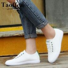 TAOFFEN Women Sneakers White Vulcanized Shoes