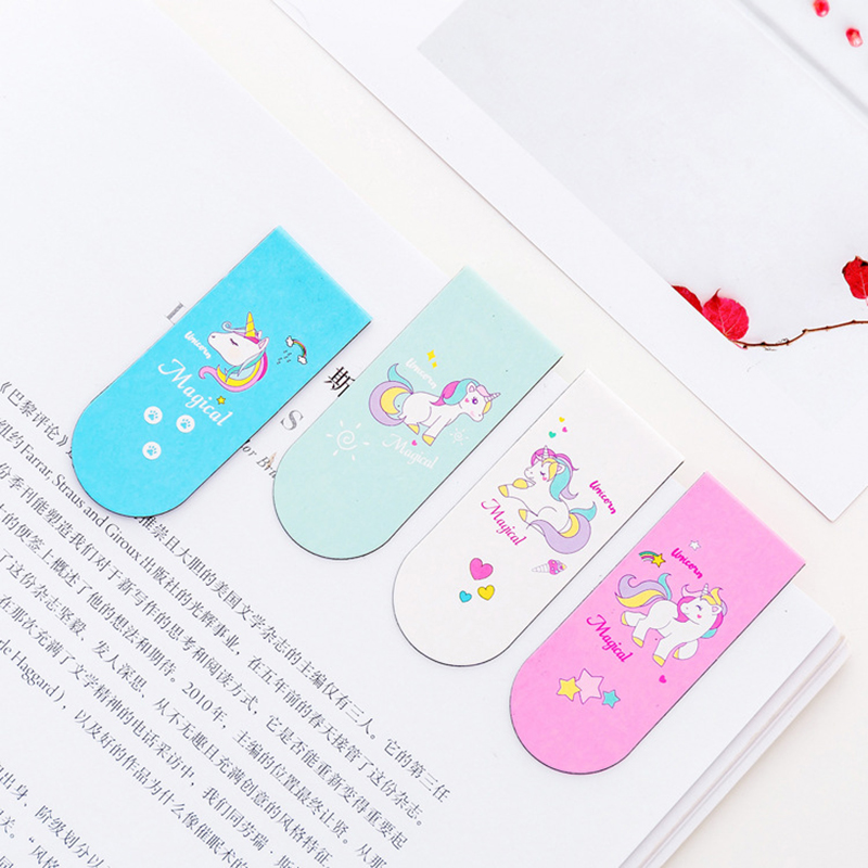 4Pcs/lot Kawaii Unicorn Magnetic Bookmark Cute Creative Stationery Book Accessories For Teacher Gift Office School Supplies