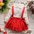 2016 autunm new infant girls party dress turn down collar baby girls princess clothes lace patchwork fake 2pcs infantil  vesrido
