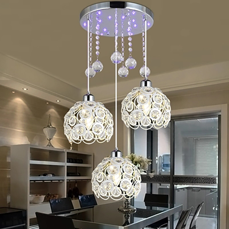 Restaurant chandelier three modern simple led American creative Dining room lights single head bar corridor Crystal hanging lamp цена