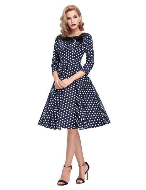 50s Polka Dot Vintage Robe Ete Bow Black Peas Plus Size Sleeve Womens Summer Dresses 2016 Summer Casual Dress Vestidos Femininos
