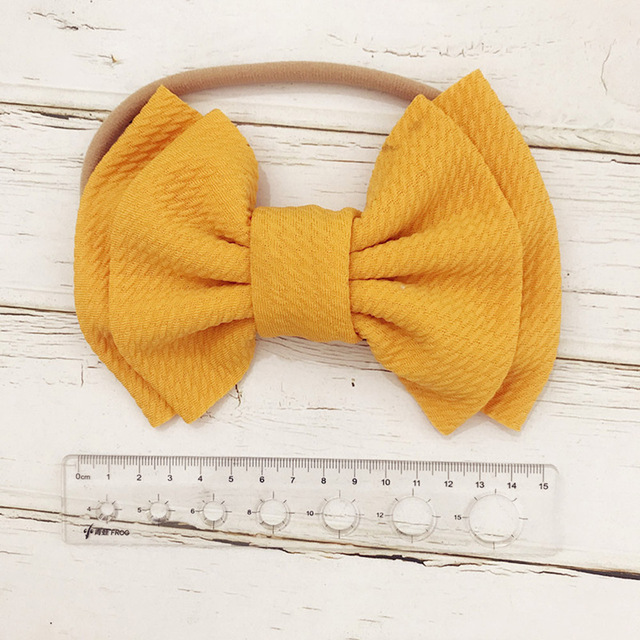 9 Colors Lovely Big Bow Headbands DIY Double deck Bowknot Nylon Hair Bands For Baby Girls Children Head Wraps Hair Accessories 2