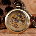 Античный Стиль Бронзовый Изысканный Механические Карманные Брелок Часы Часы Открытый Стильный Классический Прозрачный Циферблат Подвеска Рука Обмотки