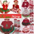 4 шт./компл. рождественская елка печать девочки одежда jumpersuit + носки + группы + обувь новый год Bebe подарок первая костюмы 3 6 9 12 м