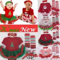 4 stks/set Kerstboom Print Baby Meisjes Kleding jumpersuit + sokken + band + schoenen Nieuwjaar Bebe Gift Eerste rompertjes Kostuums 3 6 9 12 M