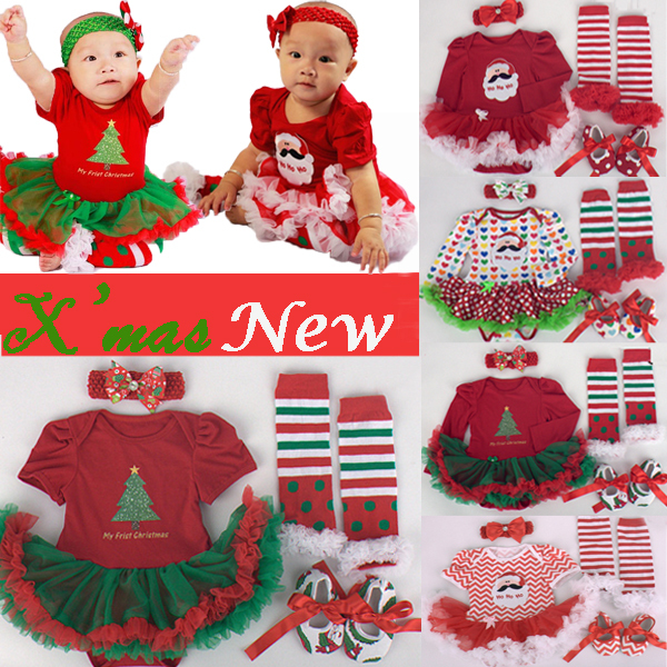 4pcs/set Christmas Tree Print Baby Girls Clothes jumpersuit+socks+band+shoes New Year Bebe Gift First Rompers Costumes 3 6 9 12M new year santa claus socks pendants gift bags home christmas tree decorations ornaments baby shower natale