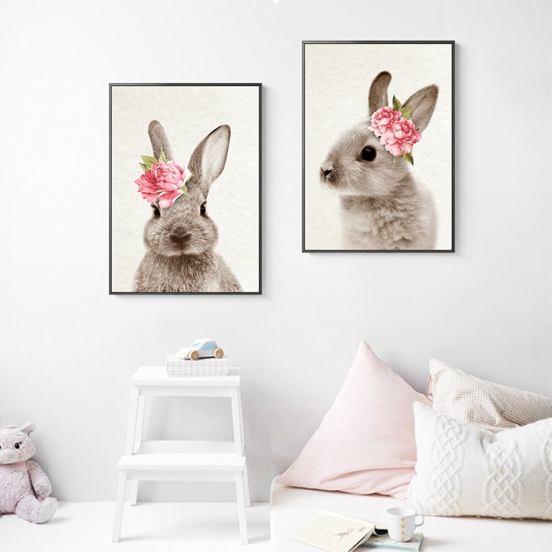 Us 2 57 20 Off Bunny Rabbit Wall Art Prints Baby Animal With Flower Poster Canvas Painting Nursery Woodland Decor In Calligraphy