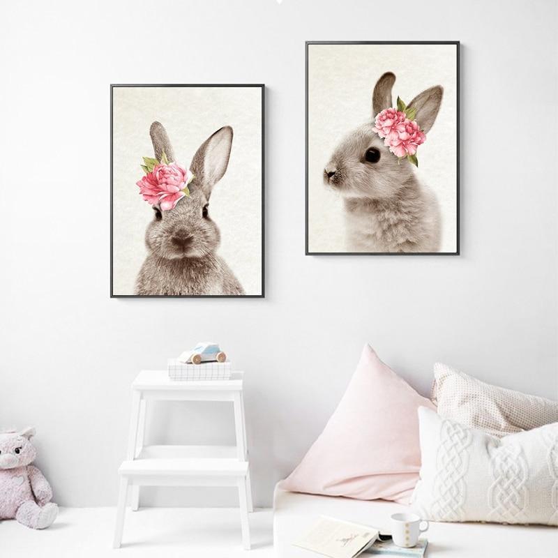 Bunny Rabbit Wall Art Prints Baby Animal With Flower Poster Canvas Painting Nursery Girl Woodland Decor