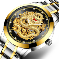 Men's Watch 3D Carving Skeleton Dragon Watch Full Automatic Ruby Diamond Stainless Steel Watch Men Waterproof Mechanical Watches