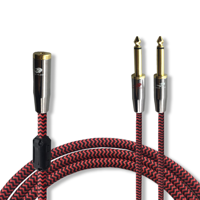 Audio Cable Mini Jack 3.5mm Female to Dual 6.35mm PC Headphone Mixer Console OFC TRS Cable Audiophile 1M 2M 3M 5M 8M