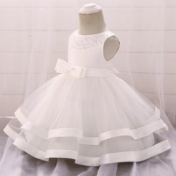 5e9f0368d Vestido de invierno para niña de manga larga blanco bautismo vestidos de  bebé de 1 año cumpleaños desgaste niño niña de bautizo de encaje bola  vestido de