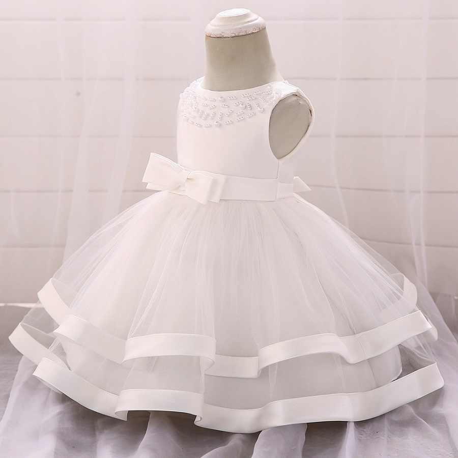 bfbd2881ef494 Winter Dress For Girl Long Sleeve White Baptism Dresses Baby Girl 1 Year  Birthday Wear Toddler Girl Lace Christening Ball Gown