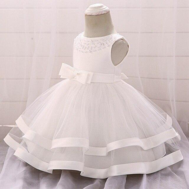 Đầm mùa đông Cho Bé Gái Tay Dài Trắng Lễ Rửa Tội Váy Áo Bé Gái 1 Năm Sinh Nhật Mặc Cho Bé Gái Ren Christening Bóng váy bầu