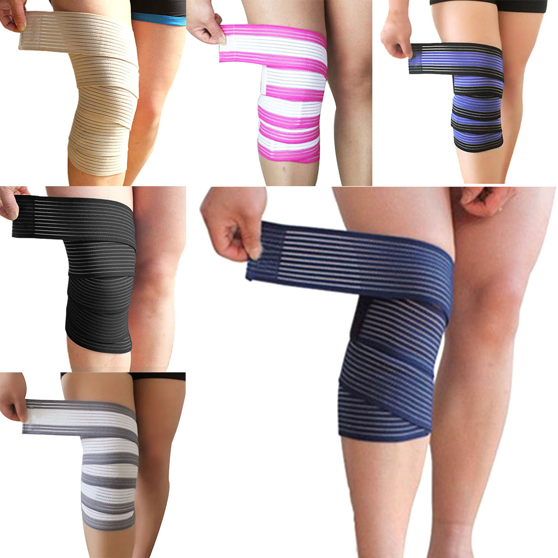 2018 NEW 1PCS 120*7.5cm Powerlifting Elastic Bandage Leg Compression Calf Knee Support Strap Wraps Band Brace Sports Safety