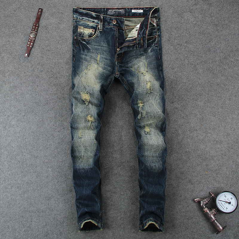 цена на Italian Retro Deign Fashion Mens Jeans Slim Fit Frayed Ripped Jeans For Men Brand Clothing Destroyed Denim Biker Jeans Pants