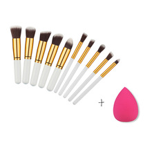 10pcs/set Foundation Powder Makeup Brush Set Blush Contour Eyeshadow Eyebrow Eye Lips Makeup Brushes&1 pcs Sponge Puff For Free