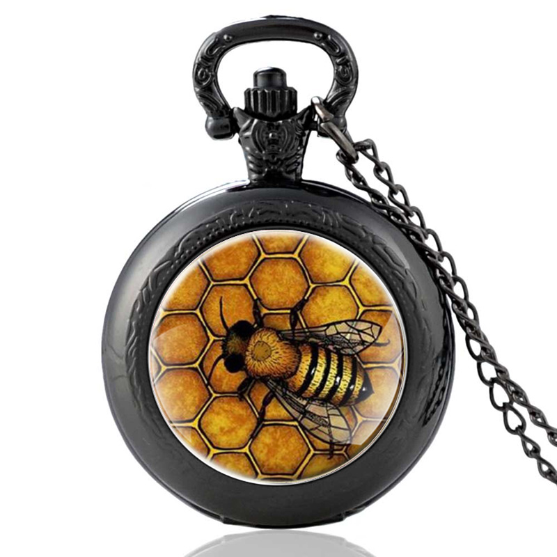 Creative The Bees Pattern Glass Cabochon Quartz Pocket Watch  Fashion Jewelry Statement Black Necklace Gift For Women