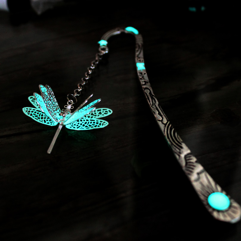 Dragonfly bookmark GLOW in the DARK fashion classics Sun moon and Stars Three layer handmade metal alloy bookmark 123*23MM dragonfly in amber