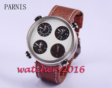 Fashion 48mm Parnis silver dial leather strap full chronograph quartz movement Men's watch