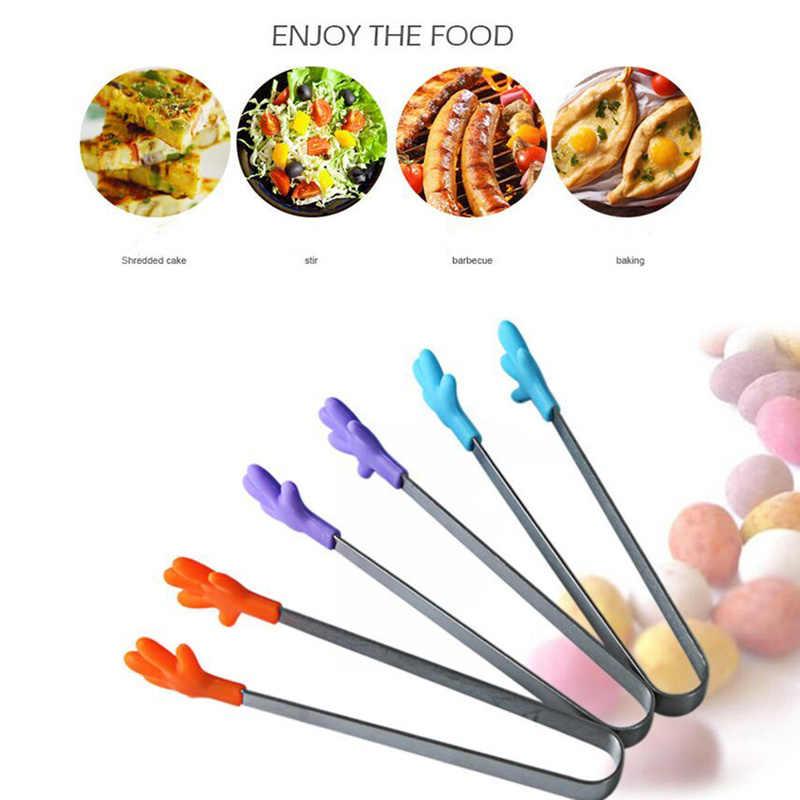Mão criativa Forma de Mini Silicone Clipe Comida Salada Servindo Tongs CHURRASCO Cozinha Ferramentas Utensílios de Cozinha do Punho de Aço Inoxidável