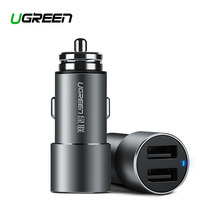 Ugreen 5V 3.6A Metal Dual USB Car Charger for iPhone X 8 7 XS Xiaomi mi9 Samsung S8 S9 Fast Universal Car Mobile Phone Charger(China)