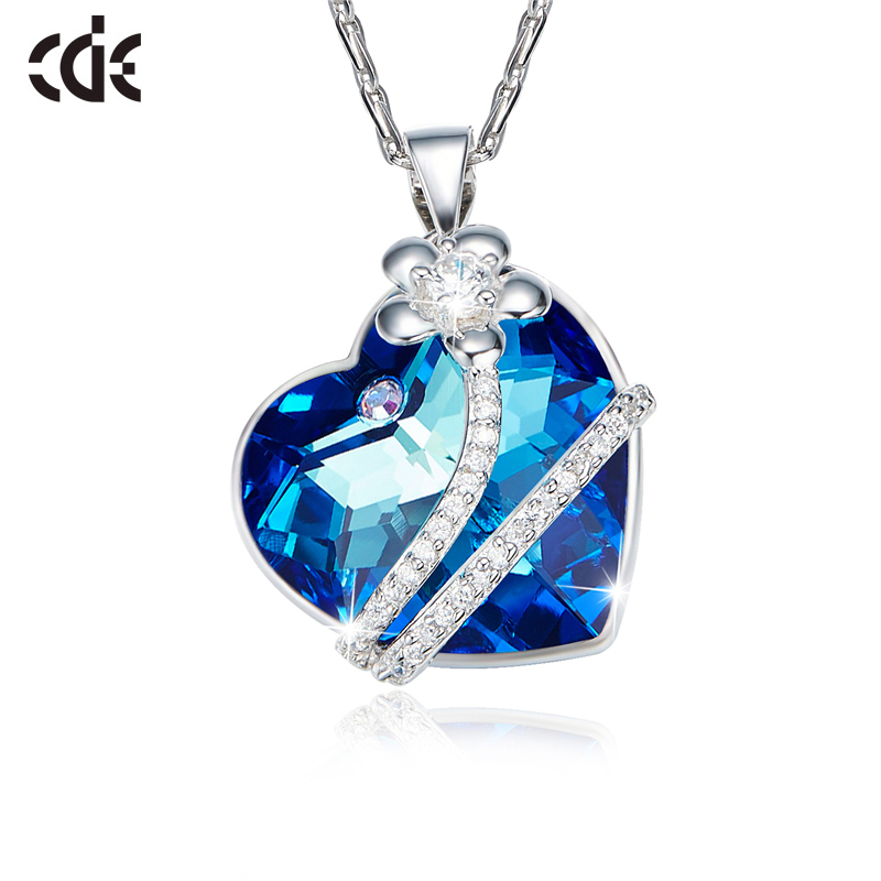 CDE 925 Sterling Silver Embellished with crystals from Swarovski Necklaces Women flower blue light Fine Jewelry lover giftsCDE 925 Sterling Silver Embellished with crystals from Swarovski Necklaces Women flower blue light Fine Jewelry lover gifts