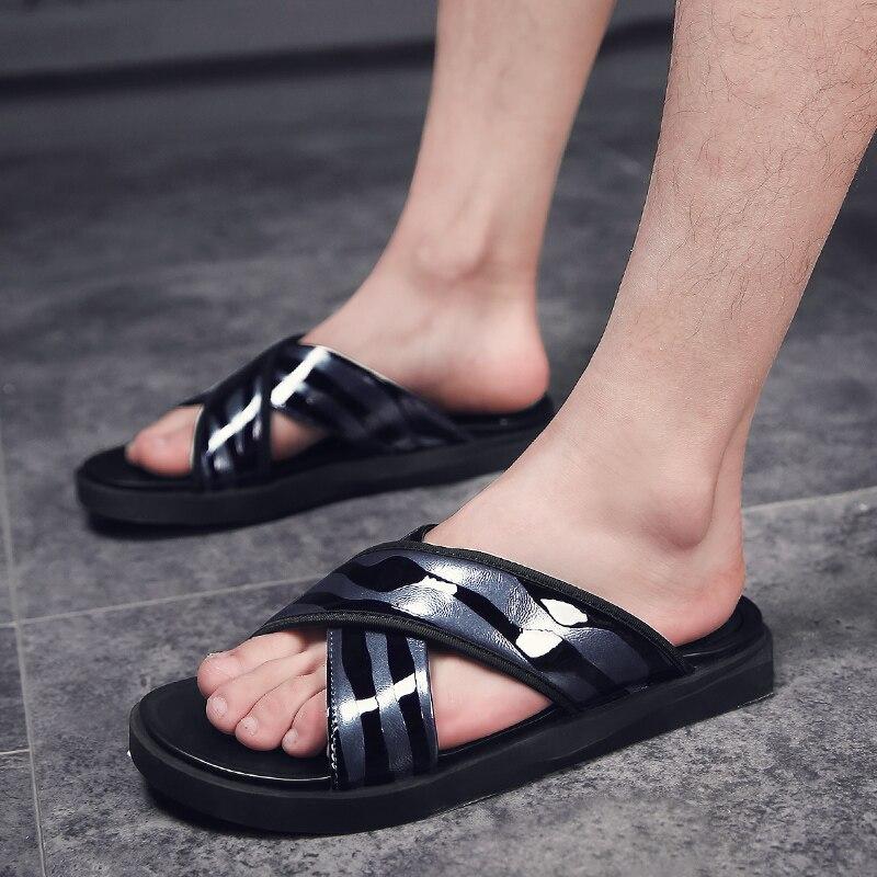49 Novos Casual De blue Homens Simples Genuíno Black Cruz Verão Sapatos 48 Praia Sandálias Slippers47 Borracha Couro Dos Moda Ninyoo Chinelos ZgF8xcU