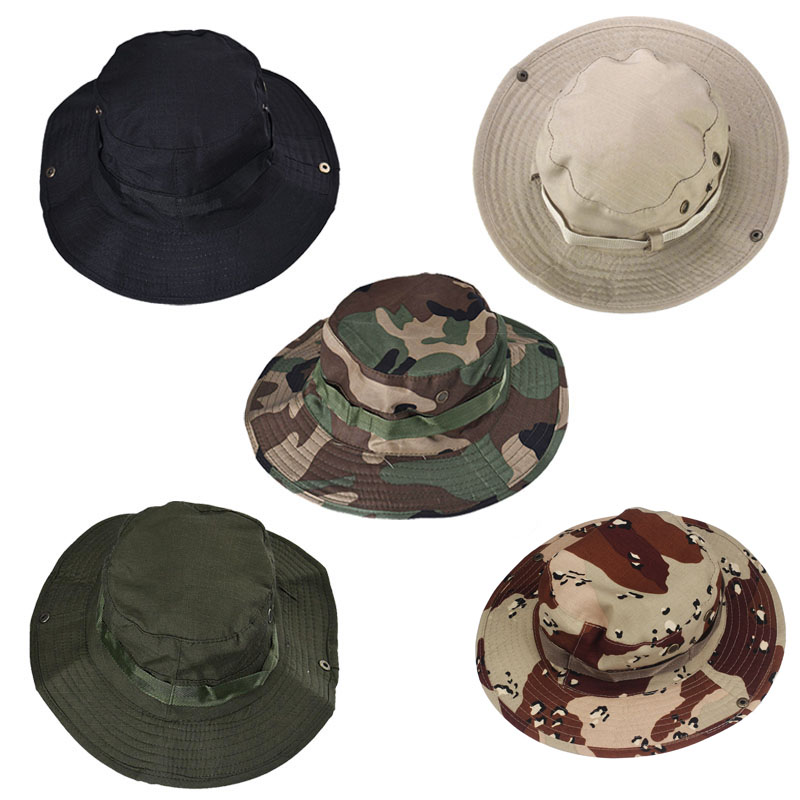 2018 Sun Hat Panama Bucket Flap Hat Breathable Boonie Multicam Nepalese Boonie Camouflage Hats Outdoor Fishing Wide Brim hats