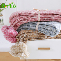 Cotton Crochet Thread Blankets Two Color Throw Knit Blanket With Ball Pompoms For Sofa Cover Bedspread Bedding Photography Props