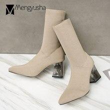 4933b442d 2018 designer de salto do metal botas meia mulheres famosas tricô ankle  boots sapatos de salto alto mulher elástica magro botas .