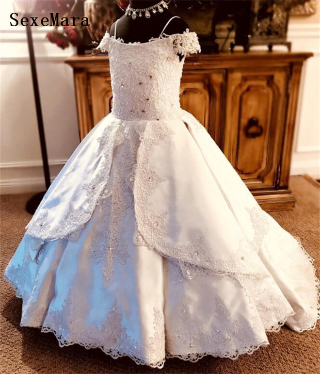 Real Pictures White   Flower     Girls     Dresses   Straps Satin Beaded Lace Up   Girls   Pageant Party Gown Kids   Dress   for Wedding Ball Gown