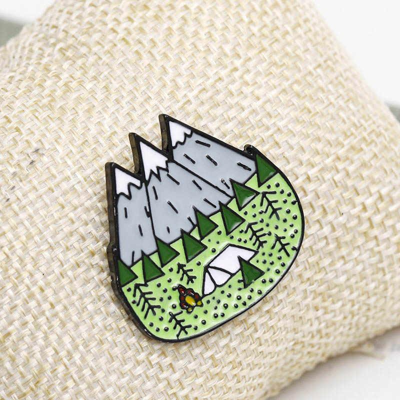 Свитер пик природа лес Кемпинг Приключения Любительская брошь шляпа 1 шт. значок перчатки шарф горы деревянные джунгли заклепки для джинсов Одежда