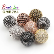 3pcs/lot CZ Spacer Round Bead 4mm 6mm 8mm 10mm 12mm Brass Micro Pave Cubic Zirconia Beads for Jewelry Making Diy Charms Bracelet