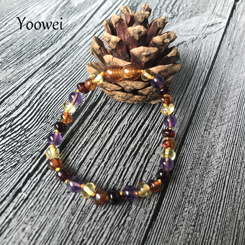 HTB1HSA2oRDH8KJjSspnq6zNAVXaE Yoowei 9 Color Baby Amber Bracelet/Necklace Natural Amethyst Gems Adult Baby Teething Necklace Baltic Amber Jewelry Wholesale