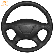 MEWANT Black Genuine Leather Car Steering Wheel Cover for Mitsubishi Pajero Sport 2004 Montero Sport 2004