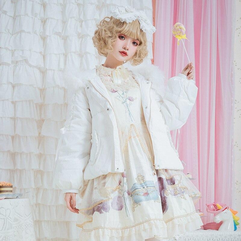 2019 réel nouvelle robe de jardin Lolita automne et hiver épaissi chauffage col de fourrure femme rose étudiant belle veste bas costume