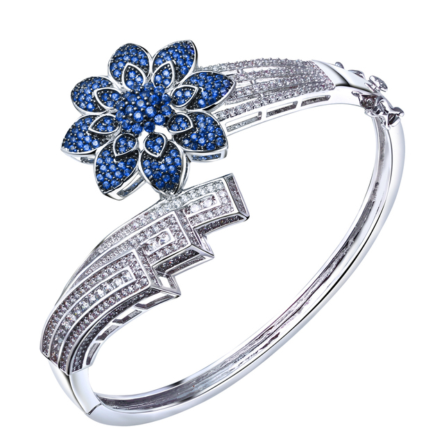 New arrival Cuff Bracelets Bangles Real Gold Plated With AAA CZ Stone Wdding Jewelry Blue Crystal Bracelets for Women