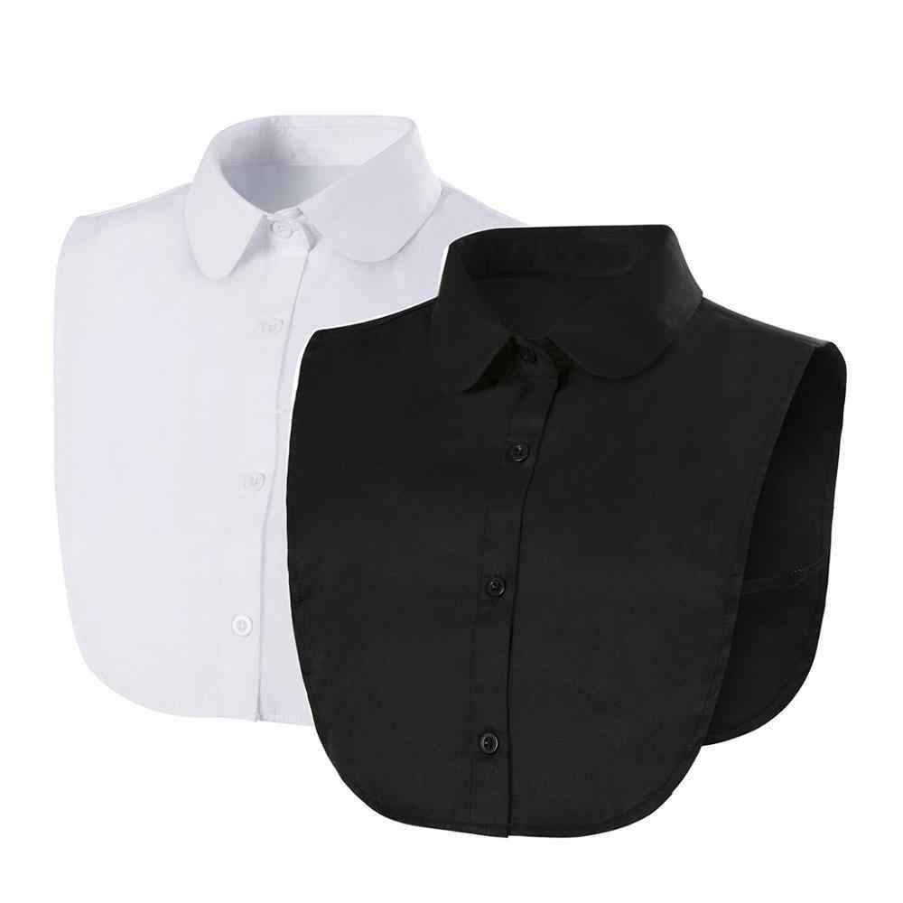 Kerah Palsu untuk Baju Dilepas Kerah Padat Kemeja Kerah Blus Top Pria Wanita Hitam Putih Pakaian Kemeja Aksesoris Dropship