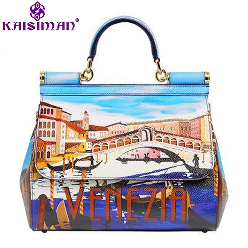Luxury Brand Italy Venice Fashion Printing Shoulder Bag Female Printed Bag Sicily Handbags Genuine Cow Leather Platinum Tote Bag merchant of venice the