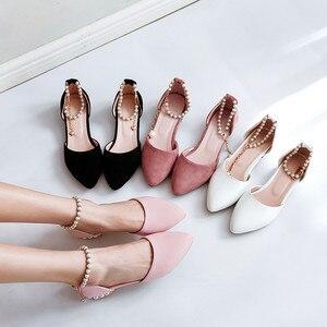Image 1 - Ymechic sapatos femininos de salto baixo, calçados para moças, branco, rosa, de noiva, com cordão, para mulheres, casual, verão 2018 tamanho do tamanho