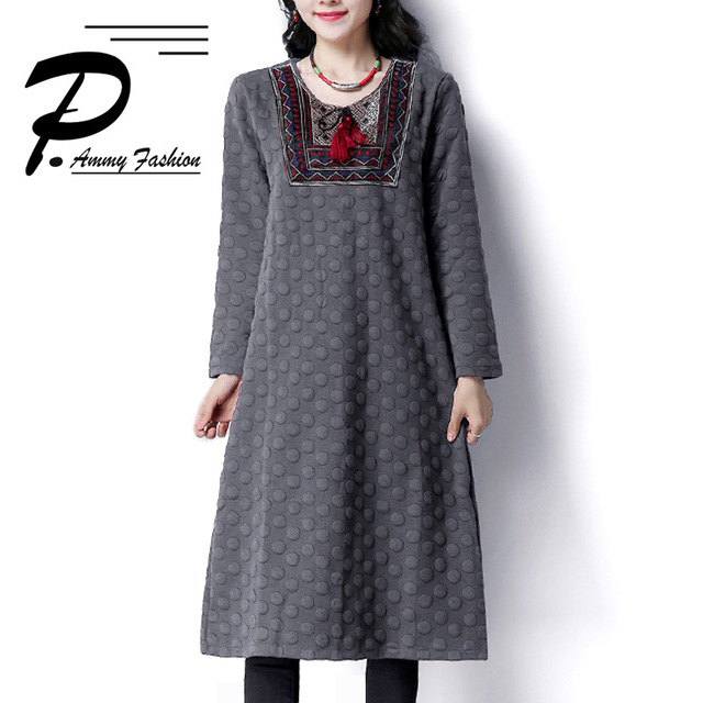 Women Quilted Cotton Solid Color Long Sleeves Oversized Jumper Dress 2018  Lady Winter Loose Embroidery Padded Cotton Tunic Dress b385aad98320