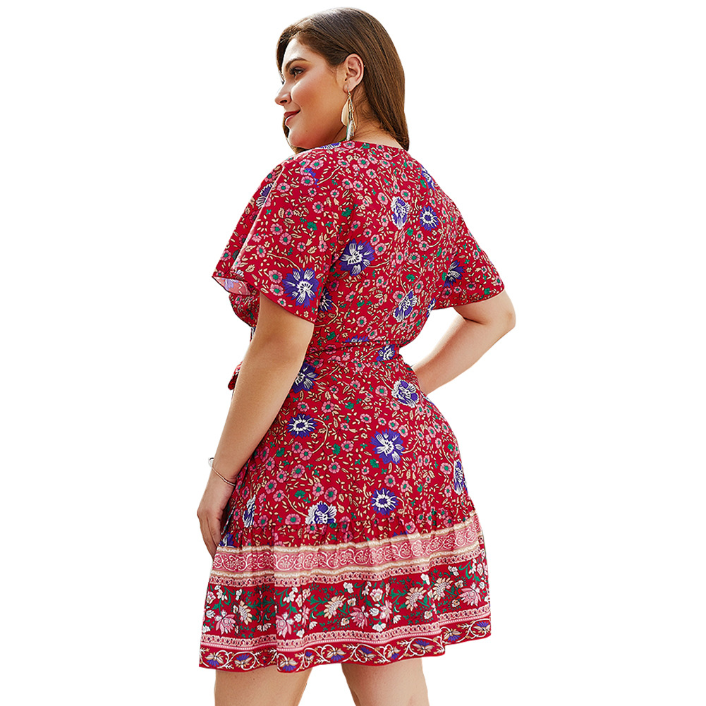 New V collar Printed Large Size Dress for Spring and Summer of 2019 in Dresses from Women 39 s Clothing