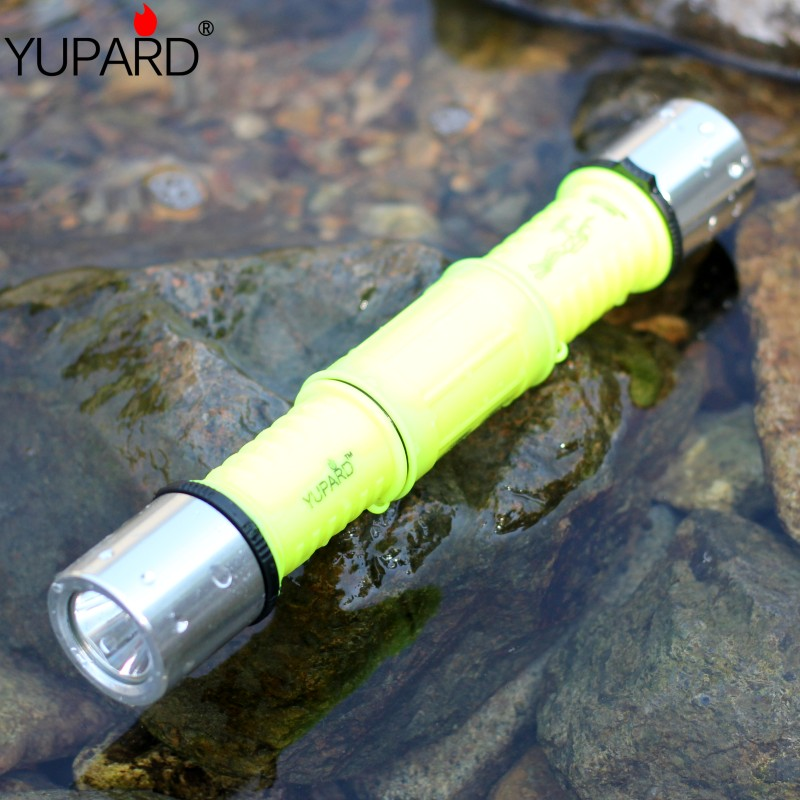 YUPARD diving Underwater Waterproof Q5 LED Flashlight Torch white yellow light+2*1800mAh 18650 rechargeable battery+charger white purple yellow light led flashlight stainless steel torch 18650 rechargeable uv torch olight jade identification page 2