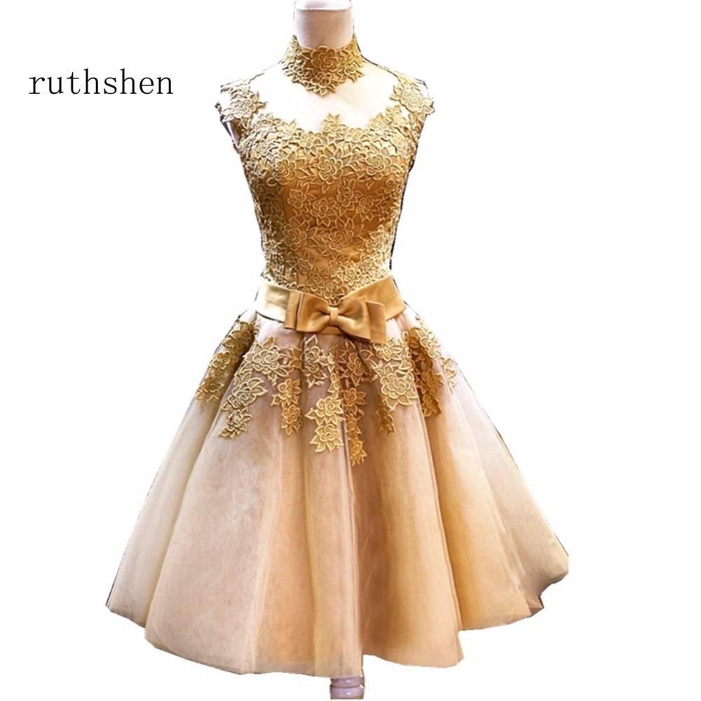 ruthshen Lovely Lace A line High Neck Short   Cocktail     Dress   With Appliques Sash 2018 vestidos de coctel renda