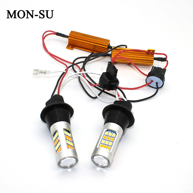 MON-SU 2pc Car <font><b>Led</b></font> <font><b>Drl</b></font> Daytime Running Light BA15S BAU15S S25 2835 42 SMD <font><b>T20</b></font> W21W 7440 Dual Color Switchback Turn Signal Lamp image