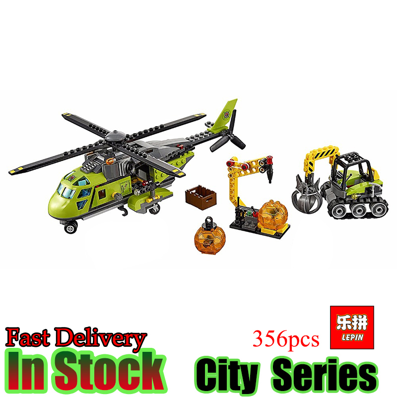 LEPIN 02004 City Series Helicopter Volcanic Expedition Blocks Compatible With 60123 Boy Assembling DIY Toys for Children Gift city series helicopter surveillance building blocks policeman models toys children boy gifts compatible with legoeinglys 26017