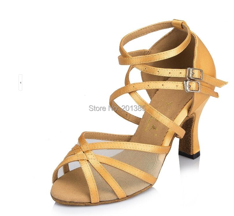 New Ladies Girls Champagne Satin Mesh Salsa Ballroom Dance Shoes Latin Dance Shoes ALL Size