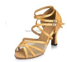 New Ladies Girls Champagne Satin Mesh font b Salsa b font Ballroom Dance font b Shoes