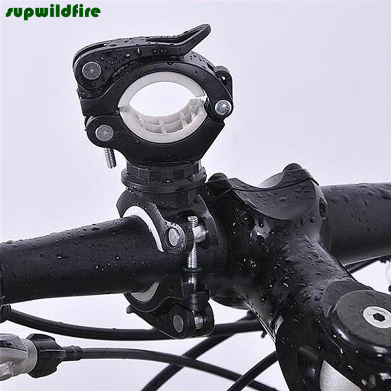 Black Torch Clip Mount Bicycle Front Light Bracket Flashlight Holder 360 Rotation Free Shipping #NO16