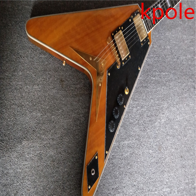 highest quality kpole electric flying v type guitar transparent yellow mahogany wood in guitar. Black Bedroom Furniture Sets. Home Design Ideas